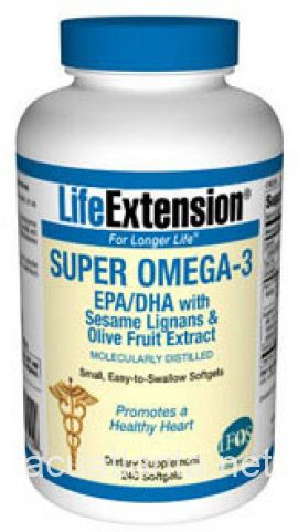 Super Omega 3 EPA DHA w Sesame Lignans and Olive Fruit Ext 240 caps