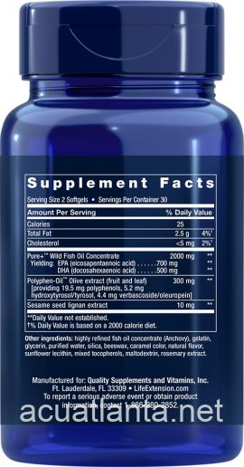 Super Omega-3 EPA/DHA with Sesame Lignans and Olive Extract 60 softgels