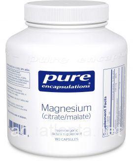 Magnesium (Citrate/Malate) 180 vegetable capsules
