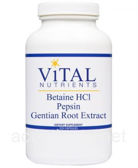 Betaine HCL Pepsin & Gentian Root Extract 225 capsules