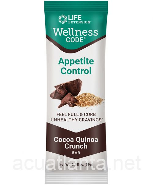 Wellness Code Appetite Control Bar 12 bars Cocoa Quinoa Crunch