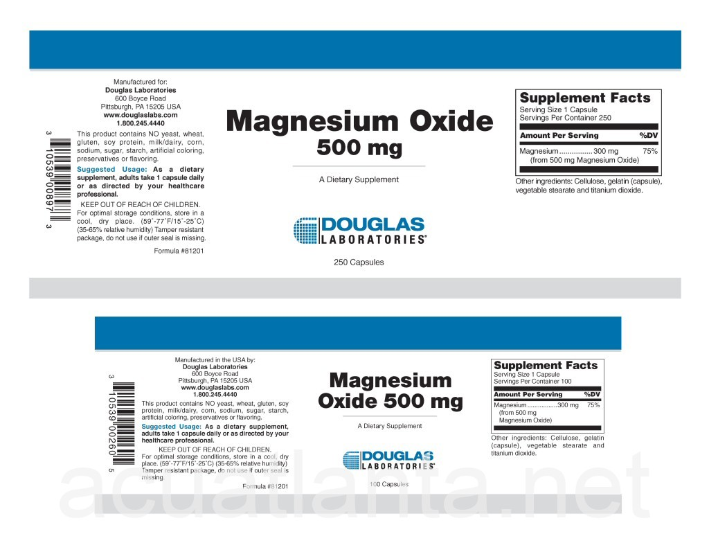 Magnesium Oxide 100 capsules 500 milligrams by Douglas ...